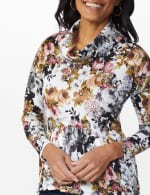 Floral Sweater Knit Cowl Neck Top - 4