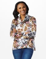 Floral Sweater Knit Cowl Neck Top - 7