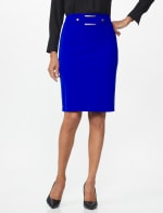 Pencil Skirt with Hardware Trims and Tab Detail - Blue Ensign - Front