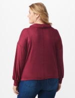 Hacci Sweater Knit Cowl Neck Top - Burgundy - Back