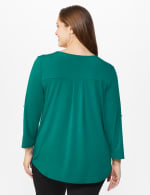 Roz & Ali Zip Front Knit Top - Plus - Spruce - Back