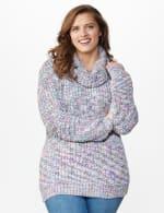Roz & Ali Novelty Split Neck Pullover Sweater - Multi - Front