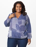 Westport Patchwork Wrap Blouse- Plus - Navy - Front