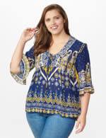 Westport Border Print Ruffle Sleeve Blouse -Plus - Navy - Front