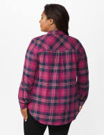 """Burgundy Plaid """"To Tie Or Not To Tie"""" Shirt - Plus - Burgundy - Back"""
