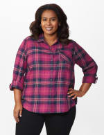 """Burgundy Plaid """"To Tie Or Not To Tie"""" Shirt - Plus - Burgundy - Front"""