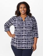 Roz & Ali Plaid Pintuck Knit Popover - Plus - Navy - Front