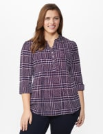 Roz & Ali Plaid Pintuck Knit Popover - Plus - NAVY-RED - Front