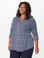 Roz & Ali Navy Plaid Pintuck Knit Popover - Plus - Navy-White - Front