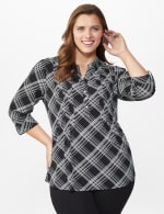 Roz & Ali Bias Plaid Pintuck Knit Popover - Black-White - Front