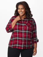 Red Rayon Plaid Shirt - Plus - Red - Front