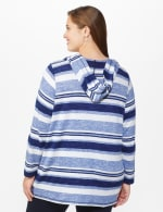 DB Sunday Kangaroo Pocket Stripe Hacci Hoodie - Plus - Blue - Back