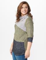 DB Sunday Color Block Hacci Cowl Neck Sweater Knit Top - Plus - 4