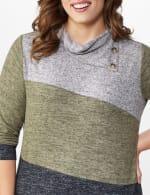 DB Sunday Color Block Hacci Cowl Neck Sweater Knit Top - Plus - 5