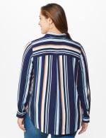 Westport Rayon Stripe Button Front Shirt - Plus - Blue - Back