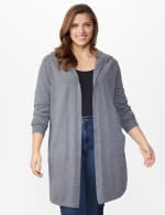 Roz & Ali Crisscross Back Sweater Duster - Plus - Heather Grey - Front