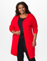 Roz & Ali Crisscross Back Sweater Duster - Plus - Red - Front