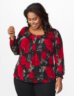 Roz & Ali Floral Bubble Hem Blouse - Plus - Black/Red - Front