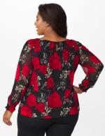 Roz & Ali Floral Bubble Hem Blouse - Plus - Black/Red - Back