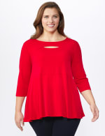 Roz & Ali Keyhole Fit & Flare Knit Top - Plus - Arresting Red - Front