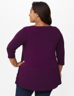 Roz & Ali Keyhole Fit & Flare Knit Top - Plus - Plumberry - Back