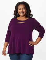 Roz & Ali Keyhole Fit & Flare Knit Top - Plus - Plumberry - Front