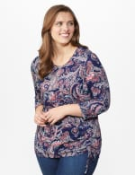 Dressbarn Paisley Hacci Cinched Knit Top - Plus - 6