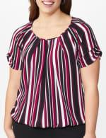Roz & Ali Striped Bubble Hem Blouse - Plus - 5