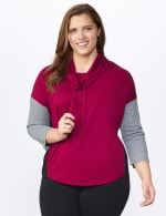 DB Sunday Color Block Knit Top - Plus - Burgundy - Front