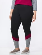 DB Sunday Colorblock Legging - Plus - Black/Burgundy - Front