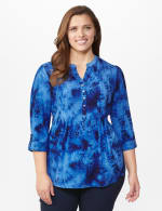Navy Jacquard Pattern Pintuck Popover - Plus - Navy - Front