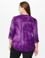 Roz & Ali Purple Sequin Tie Dye Pintuck Popover - Plus - Grape-Jelly - Back