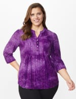 Roz & Ali Purple Sequin Tie Dye Pintuck Popover - Plus - Grape-Jelly - Front