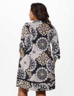 Medallion Two Pocket Dress - Plus - Black/Taupe - Back