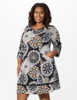 Medallion Two Pocket Dress - Plus - Black/Taupe - Front