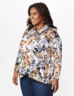 Floral Sweater Knit Cowl Neck Top - Plus - 4