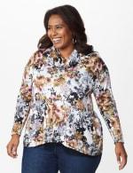 Floral Sweater Knit Cowl Neck Top - Plus - 6