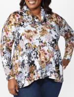 Floral Sweater Knit Cowl Neck Top - Plus - 5