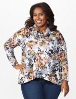 Floral Sweater Knit Cowl Neck Top - Plus - 7