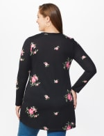 Embroidered V-Neck Hacci Cardigan - Plus - Black/Pink - Back