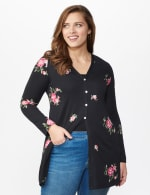 Embroidered V-Neck Hacci Cardigan - Plus - Black/Pink - Front