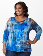 Westport Tie Dye Knit Top - Plus - Blue - Front