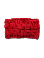 Cable Knit Braided Head Wrap - Red - Front