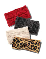 Cable Knit Braided Head Wrap - Red - Back