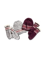 Fair Isle Hat and Mitten Set - Light Heather Grey - Back