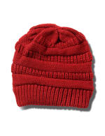 Novelty Cable Rib Hat - Red - Front