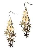 Snowflake Chandelier Earrings - Brass - Back