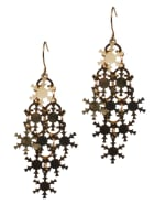 Snowflake Chandelier Earrings - Brass - Front