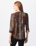 Roz & Ali Animal Knit Pintuck Popover - Misses - Brown - Back