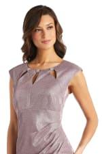 Rhinestone Accent Pleated Short Dress - Petite - 3